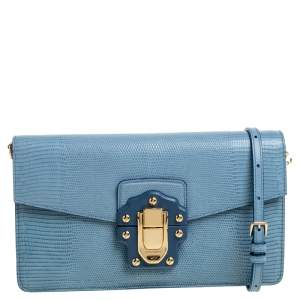 Dolce & Gabbana Blue Lizard Embossed Leather Lucia Shoulder Bag