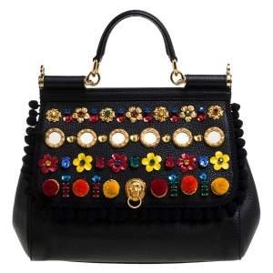 Dolce & Gabbana Black Leather Medium Sicily Embellished Top Handle Bag