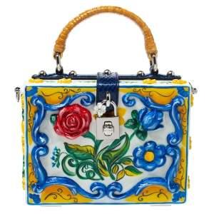 Dolce & Gabbana Multicolor Majolica Print Acrylic and Snakeskin Top Handle Box Bag