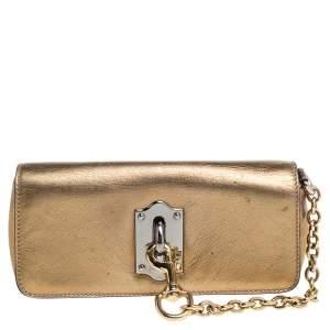 Dolce & Gabbana Metallic Gold Leather Flap Clutch