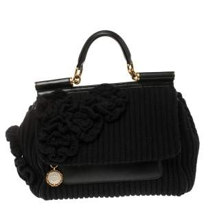 Dolce & Gabbana Black Wool and Leather Large Miss Sicily Top Handle Bag