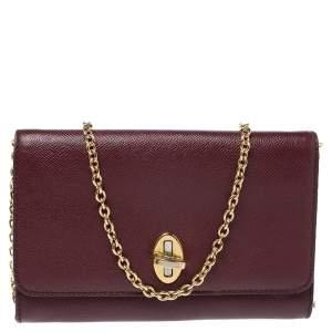 Dolce and Gabbana Burgundy Leather Taormina Chain Clutch