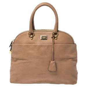Dolce and Gabbana Beige Textured Leather Medium Megan Dome Satchel
