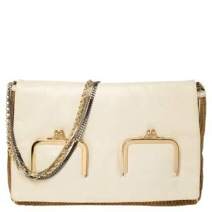 Dolce & Gabbana White/Brown Raffia and Leather Chain Shoulder Bag