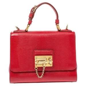 Dolce & Gabbana Red Lizard Embossed Leather Medium Miss Monica Top Handle Bag