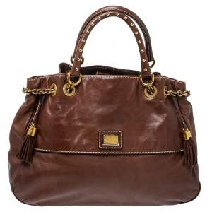 Dolce & Gabbana Brown Soft Leather Studded Handle Tote