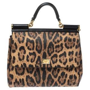 Dolce & Gabbana Black/Brown Leopard Print Coated Canvas and Leather Sicily Top Handle Bag
