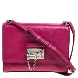 Dolce & Gabbana Magenta Leather Monica Shoulder Bag