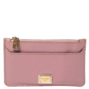 Dolce & Gabbana Piink Dauphine Leather Zip Card Holder