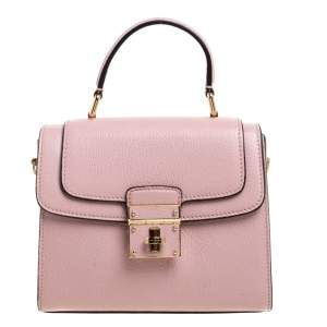 Dolce & Gabbana Pink Leather Mini Greta Top Handle Bag