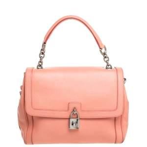 Dolce & Gabbana Coral Orange Leather Padlock Top Handle Bag