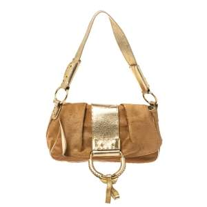 Dolce & Gabbana Brown/Gold Calfhair and Leather D Ring Flap Shoulder Bag