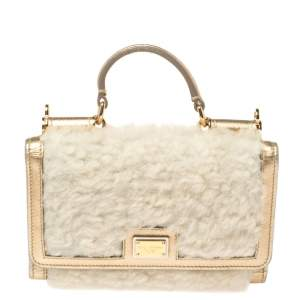 Dolce & Gabbana White/Gold Faux Fur and Leather Sicily Von Wallet on Chain