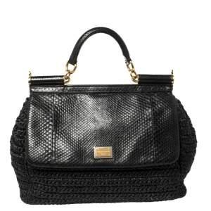 Dolce & Gabbana Black Woven Raffia and Python Miss Sicily Top Handle Bag