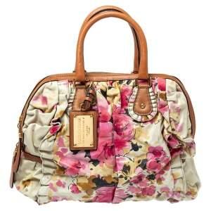 Dolce & Gabbana Multicolor Floral Print Leather Miss Rouche Satchel