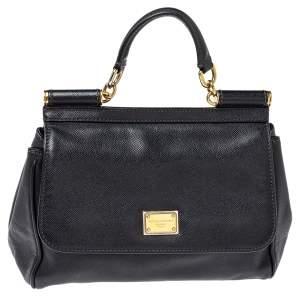 Dolce & Gabanna Black Leather Medium Miss Sicily Top Handle Bag
