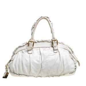 Dolce & Gabbana White Crease Leather XX Anniversary Satchel