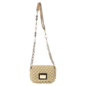 Dolce & Gabbana Beige Crochet Lurex Fabric Shoulder Bag