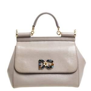 Dolce & Gabbana Dark Beige Lizard Embossed Leather Medium Crystal Logo Sicily Top Handle Bag