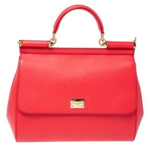 Dolce & Gabbana Coral Pink Leather Large Miss Sicily Top Handle Bag