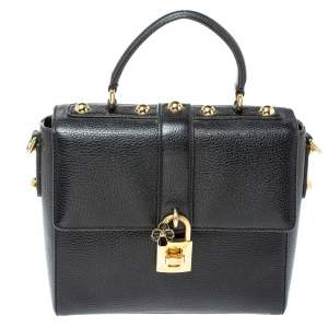 Dolce and Gabbana Black Grained Leather Padlock Flap Top Handle Bag