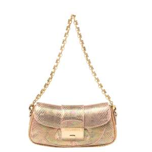 Dolce & Gabbana Pink Holographic Snakeskin Flap Chain Clutch