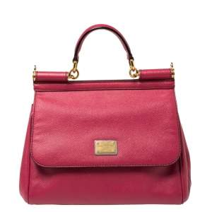 Dolce & Gabbana Fuchsia Leather Medium Miss Sicily Top Handle Bag