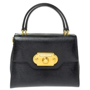 Dolce & Gabbana Black Lizard Embossed Leather Welcome Top Handle Bag