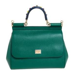 Dolce & Gabbana Multicolor Leather Medium Embellished Miss Sicily Top Handle Bag