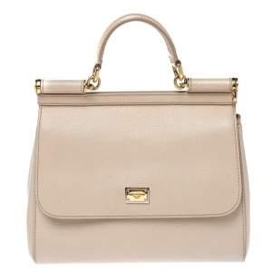 Dolce & Gabbana Beige Leather Medium Miss Sicily Top Handle Bag