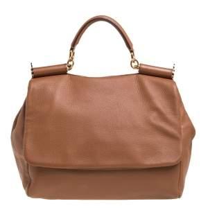 Dolce & Gabbana Tan Leather Soft Large Miss Sicily Top Handle Bag