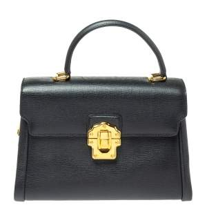 Dolce & Gabbana Black Leather Lucia Top Handle Bag