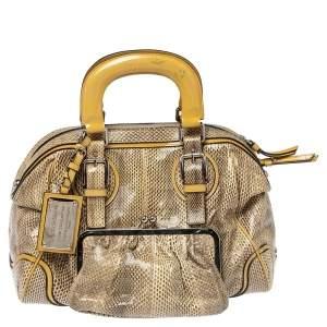 Dolce & Gabbana Cream/Beige Snakeskin and Patent Leather Miss Romantique Pocket Satchel