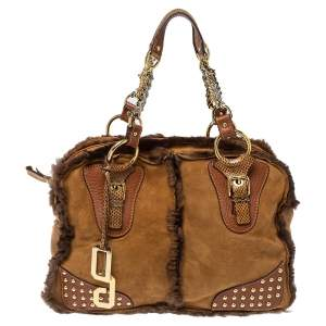 Dolce & Gabbana Brown Shearling and Snakeskin Studded Satchel