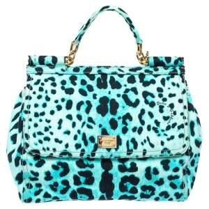 Dolce & Gabbana Blue Leopard Print Canvas Large Miss Sicily Top Handle Bag