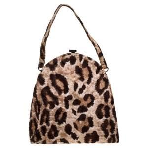 Dolce & Gabbana Brown Leopard Print Velvet Frame Clutch Bag