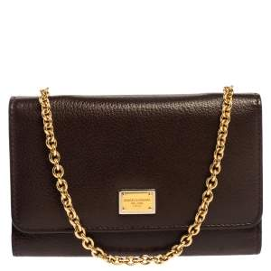 Dolce & Gabbana Brown Leather Trifold Wallet on Chain