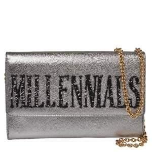 Dolce & Gabbana Metallic Silver Leather Millennials Chain Clutch