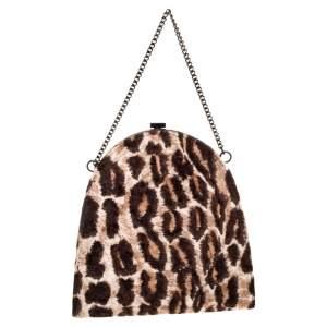 Dolce & Gabbana Brown Leopard Print Velvet Clutch