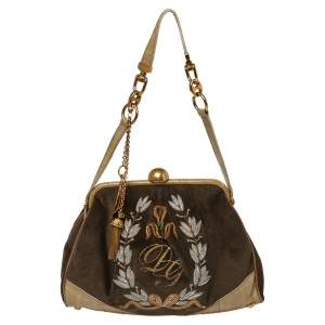 Dolce & Gabbana Olive Green Velvet And Eel Shoulder Bag