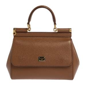 Dolce & Gabbana Tan Leather Small Miss Sicily Top Handle Bag