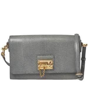 Dolce & Gabbana Teal Blue Lizard Embossed Leather Monica Shoulder Bag
