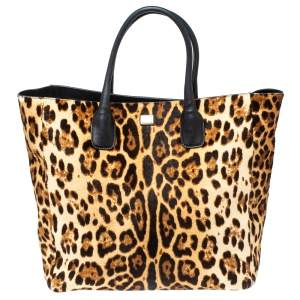 Dolce & Gabbana Black/Brown Leopard Print Calf Hair and Leather Open Tote