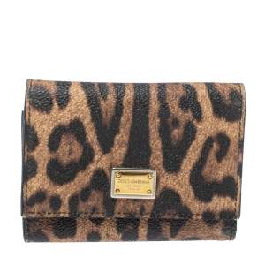 Dolce & Gabbana Brown Animal Print Coated Canvas Trifold Wallet