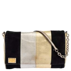 Dolce & Gabbana Tricolor Leather and Suede Miss Martini Shoulder Bag