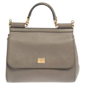 Dolce & Gabbana Grey Leather Medium Miss Sicily Top Handle Bag