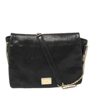 Dolce & Gabbana Black Leather Chain Detail Shoulder Bag