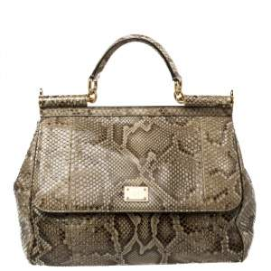 Dolce & Gabbana Brown/Pale Green Python Large Miss Sicily Top Handle Bag