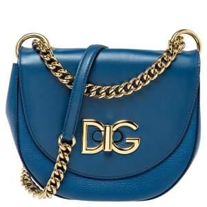 Dolce & Gabbana Blue Leather Media Wifi Shoulder Bag