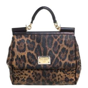 Dolce & Gabbana Black/Brown Leopard Print Coated Canvas and Leather Large Sicily Top Handle Bag